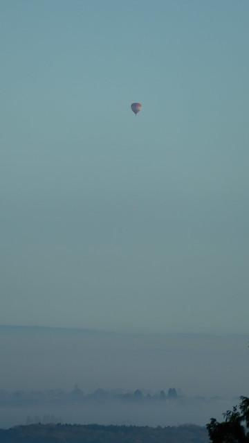 Vale of Evesham, misty autumn morning, hot air balloon