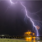 12. November 2017 - 20:31 - Lightning over Woodman Point Ammo jetty, Coogee beach, South of Fremantle, Western Australia This was one of several powerful storm cells that cane in over the south west coast of Western Australia last night. On the jetty the fishermen continued casting their lines, ignoring what was happening out to sea! In this picture the rain was beginning and the drops on the lens are causing the reflections on the right. Still an epic bolt! www.cloudtogroundimages.com m.facebook.com/cloudtogroundimages/