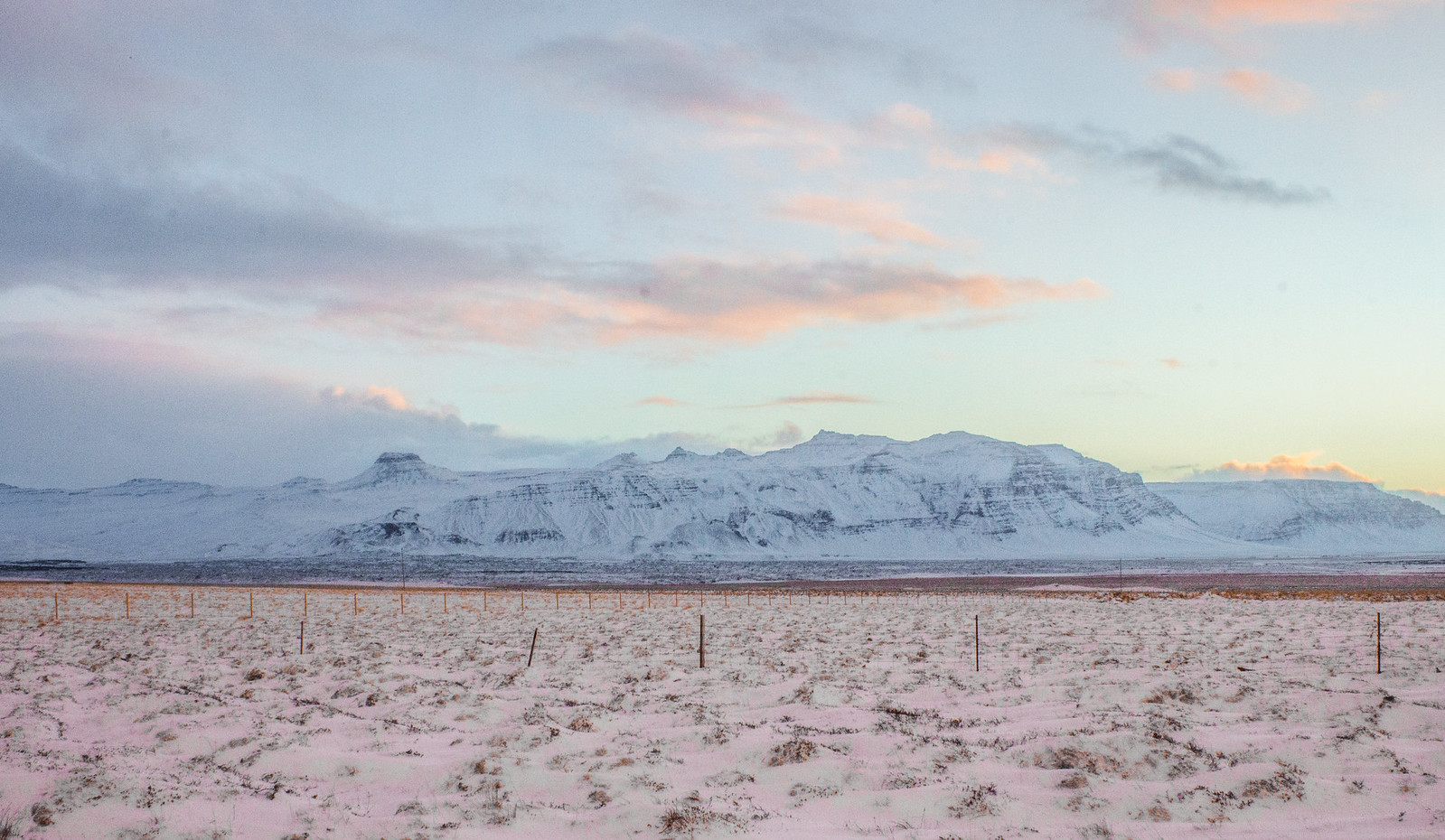 Iceland's golden glow morning sunrise in Snaefellsnes Peninsula