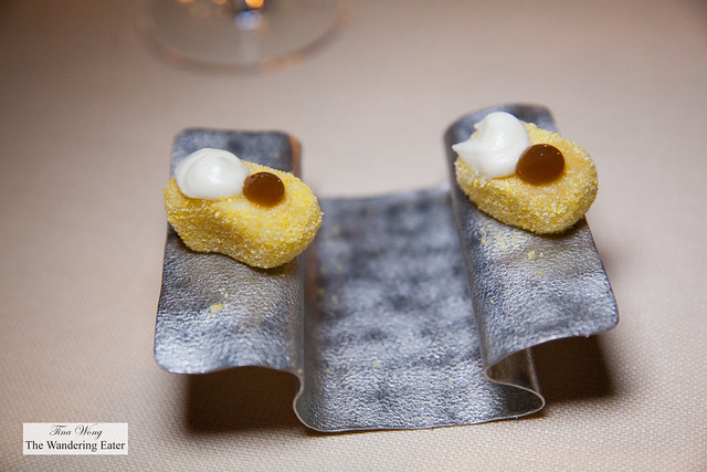 Amuse bouches - Gnochetto with Parmesan reducrtion and tomato