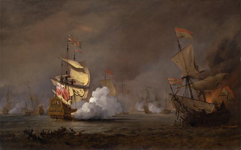 Willem van de Velde the Younger - Sea Battle of the Anglo-Dutch Wars (c.1700)