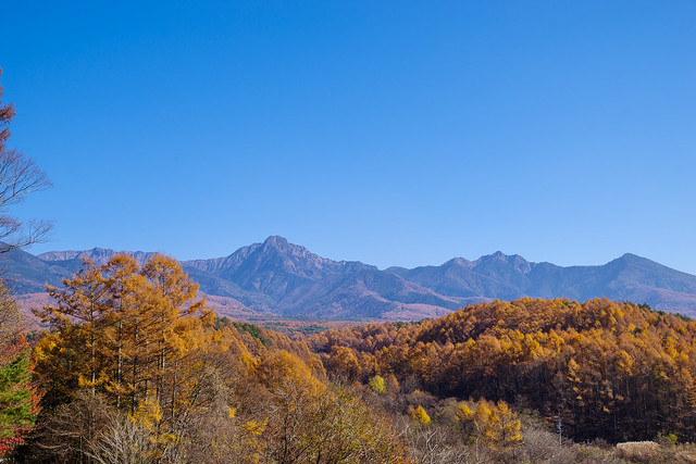 帰路車からに見た八ヶ岳の光景