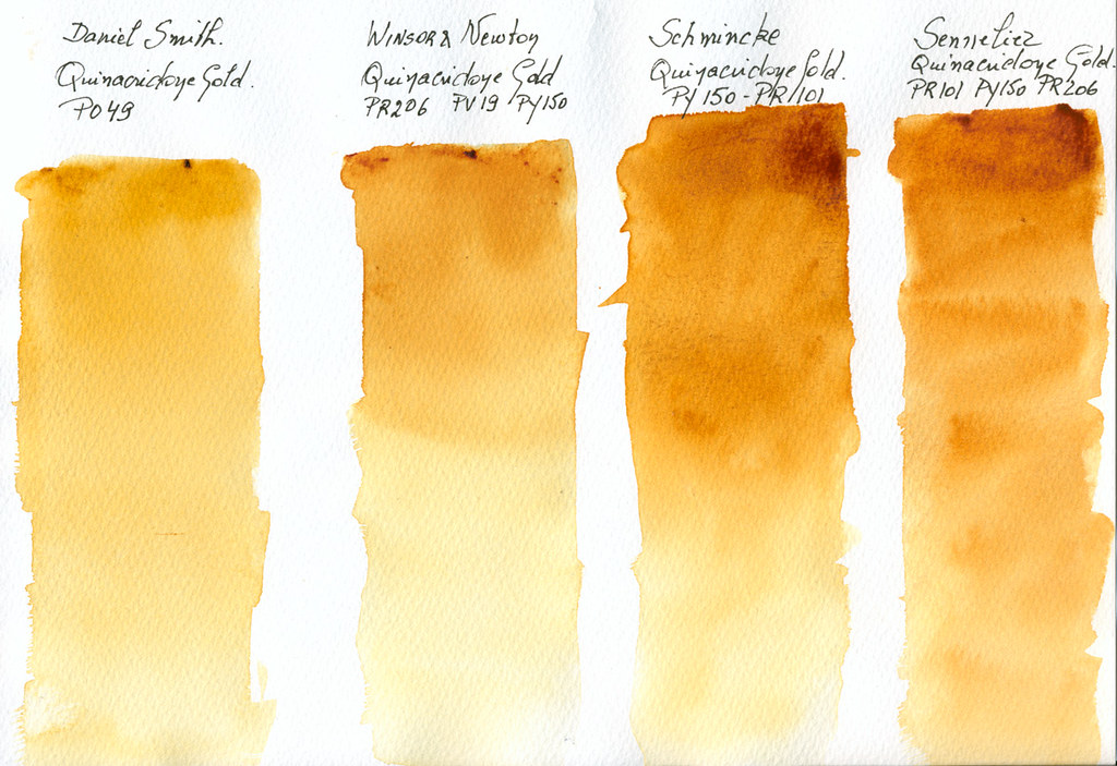Quinacridone Gold 4 different watercolour paint swatches