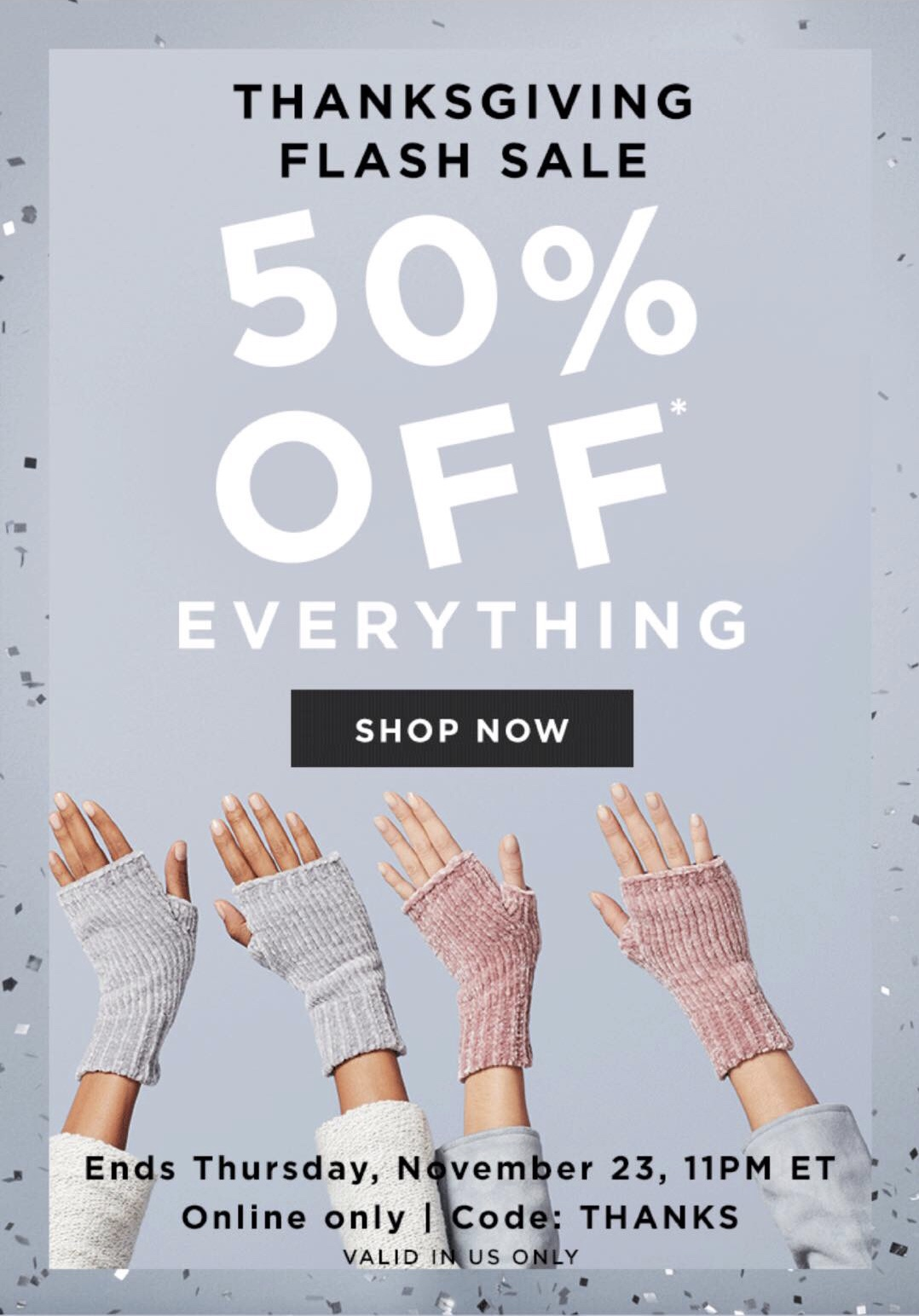 Get 50% off everything at LOFT. Use code THANKS. Valid online only. Sale ends 11/23 at 11PM ET.