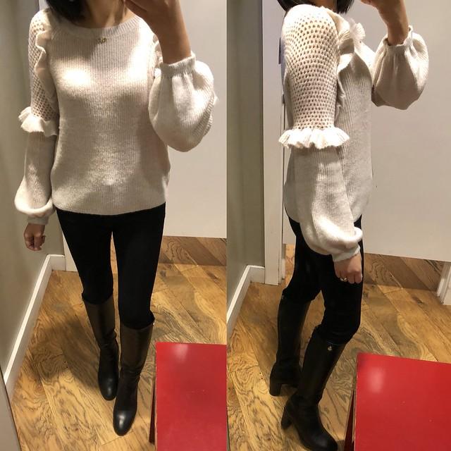 Express Balloon Sleeve Ruffle Sweater, size XS regular
