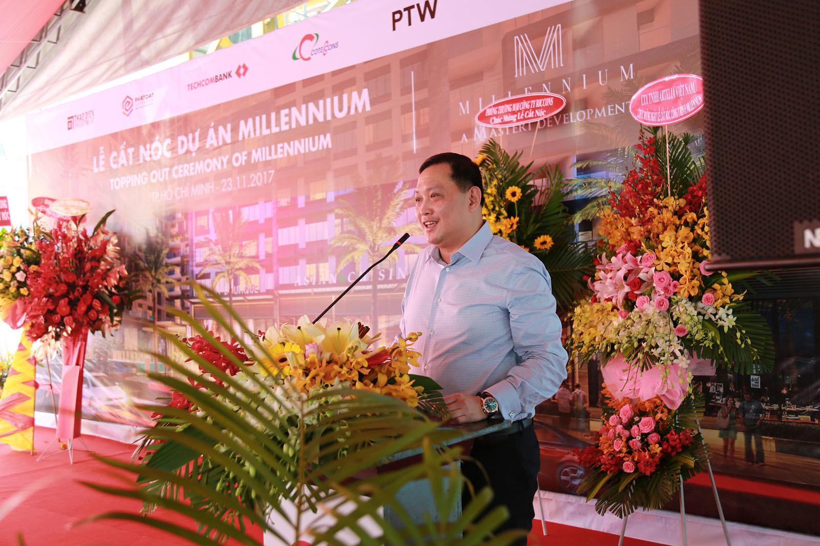 Đại diện đơn vị Phát triển dự án Millennium phát biểu tại lễ cất nóc.