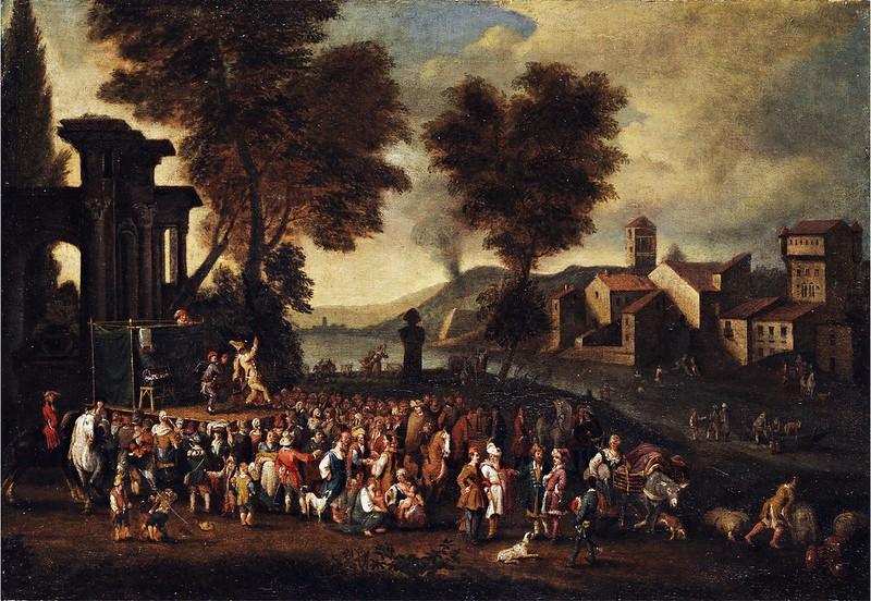 Peeter van Bredael - Commedia dell'arte-Szene in italienischer Landschaft
