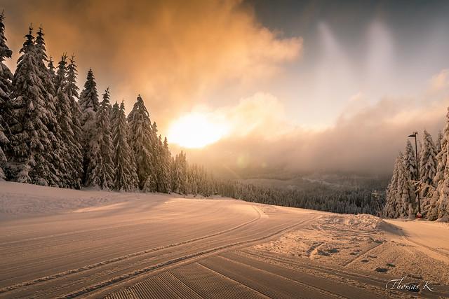 Freshly groomed ski track