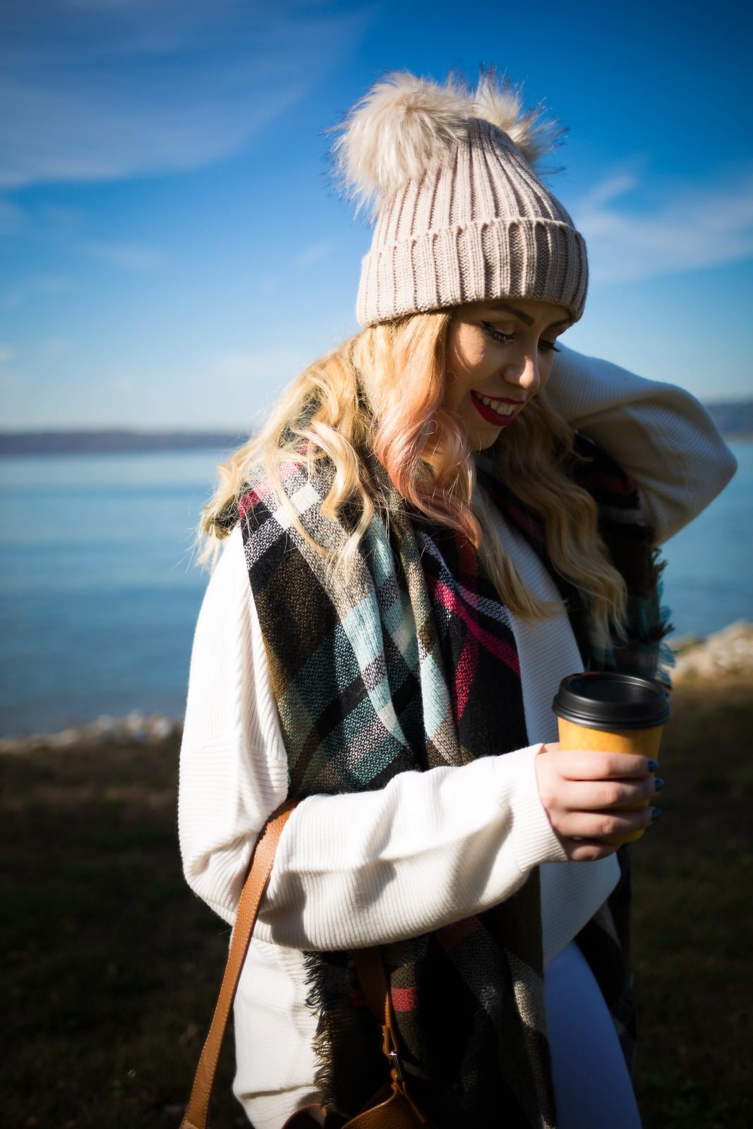 Pom Pom Beanie Green Plaid Scarf Coffee Cup Fall Afternoon