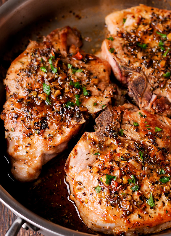 Pan Seared Pork Chops in Brown Sugar and Wine Glaze