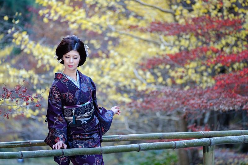 Autumnal leaves and kimono women