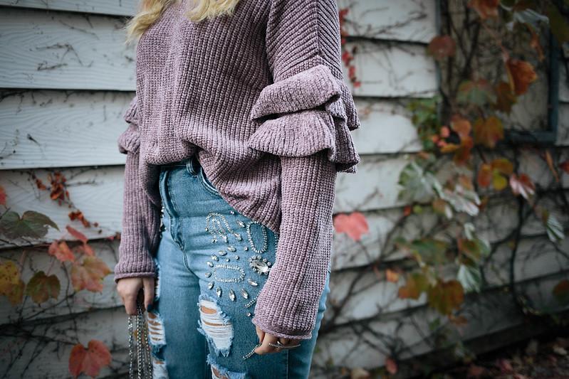Mauve Ruffle Sleeve Chenille Sweater Embellished Rhinestone Jeans