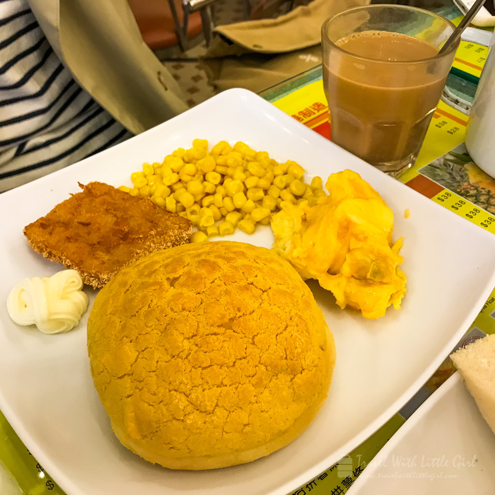 Lung Fung Cafe Pineapple Bun & Scrambled egg & Corn & Deep Fried Fish Fillet