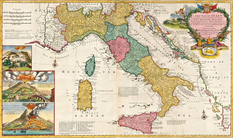 Herman Moll - A New Map of Italy, Distinguishing all the Sovereignties in it, whether States, Kingdoms, Dutchies, Principalities, Republicks &c. With the Post Roads (1714)