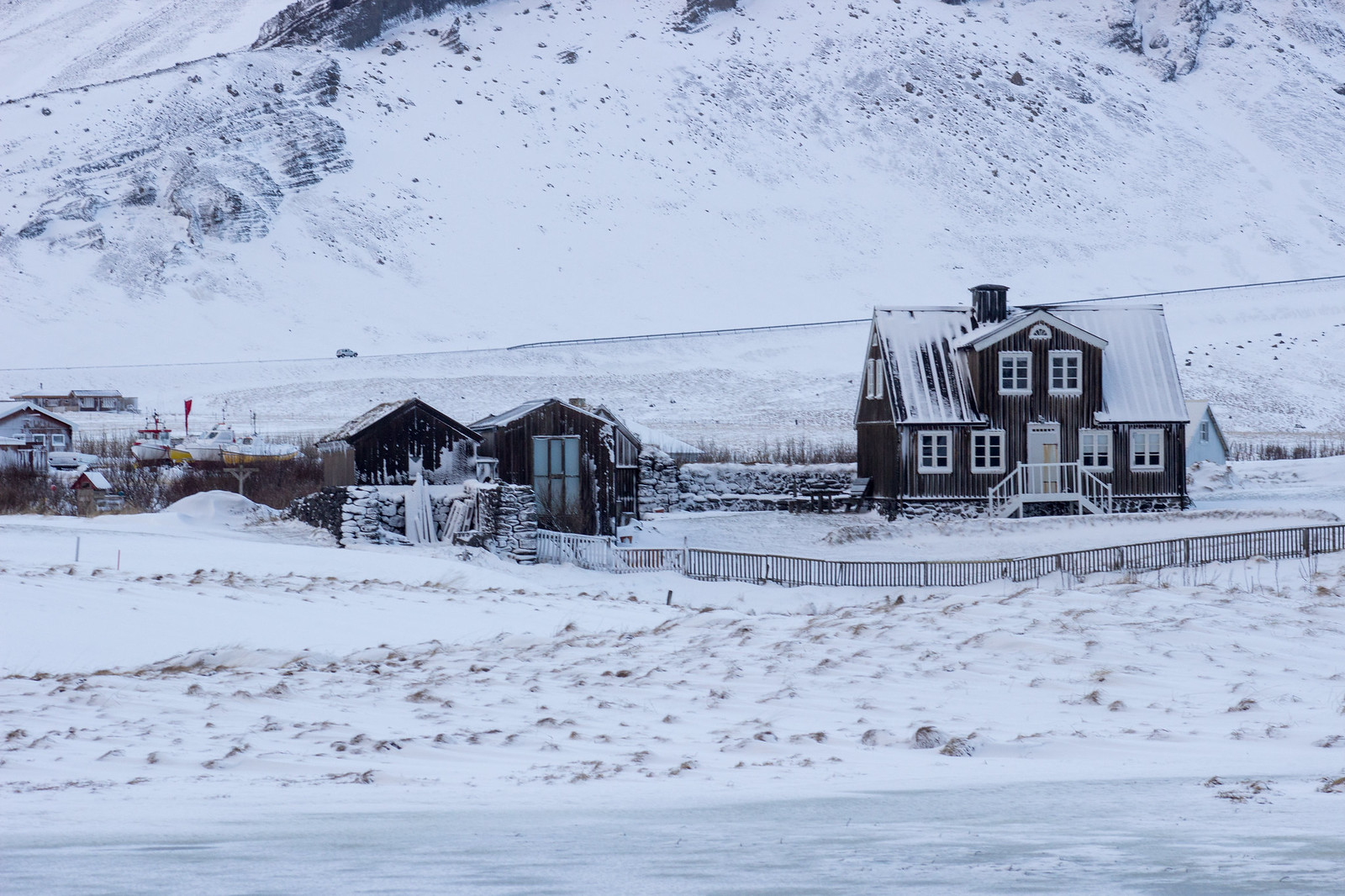 A house in front of Snaefellsjokull, Snaefellsnes Peninsula