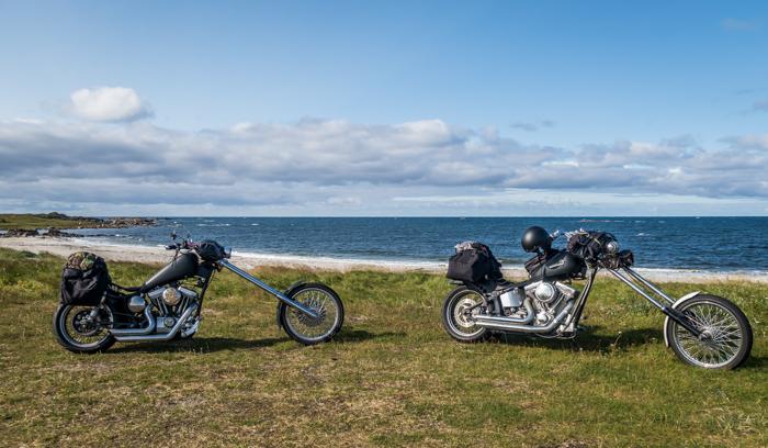 Norja Norway Andøya ranta valkoinen hiekka moottoripyörä roadtrip Harley Davidson sporster softail chopper_