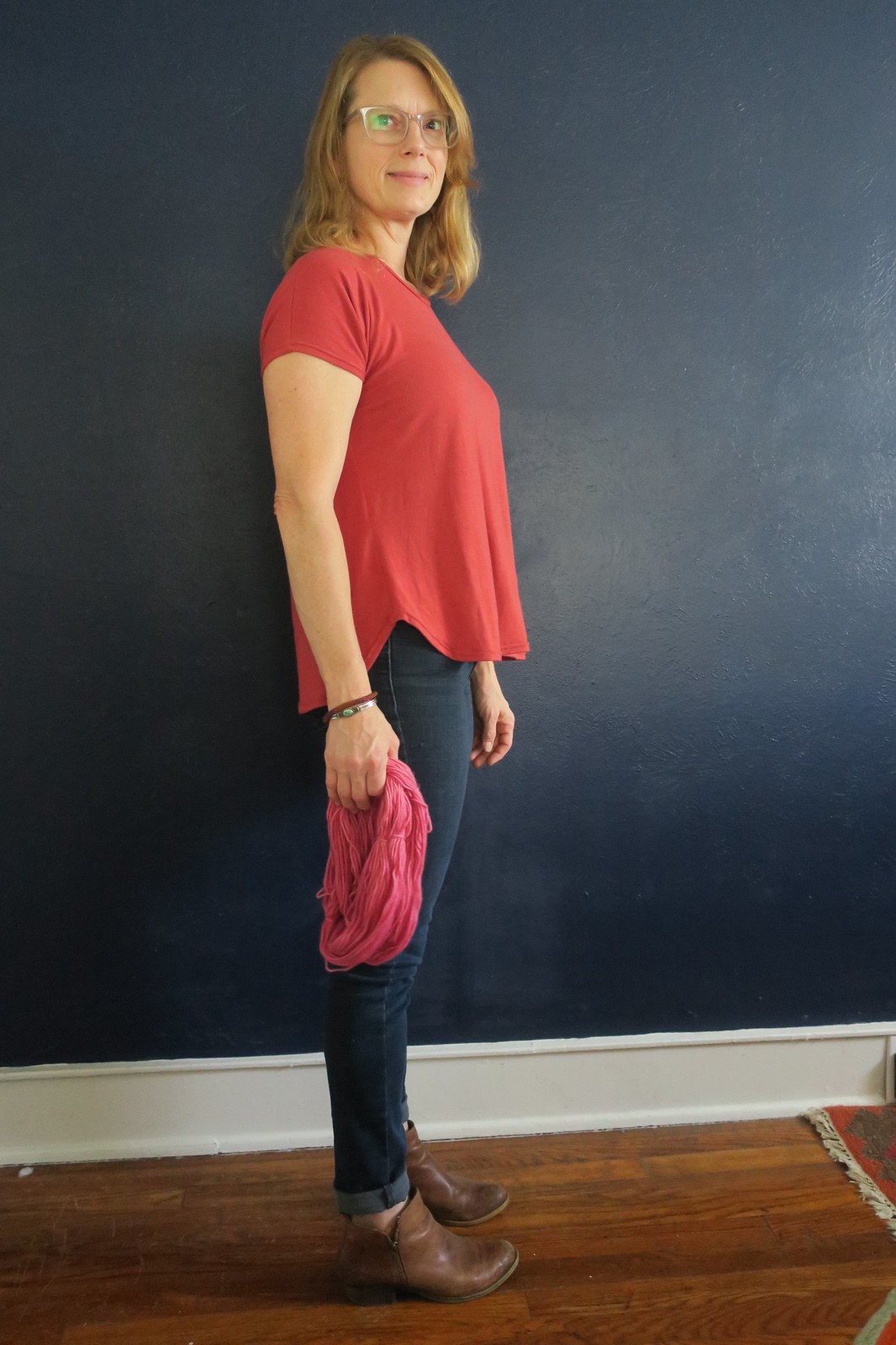 Adobe knit kimono sleeve top and cochineal dyed yarn