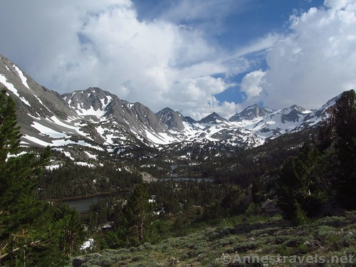 Afternoon views over the Little Lakes Basin along the Mono Pass Trail in Inyo National Forest, California