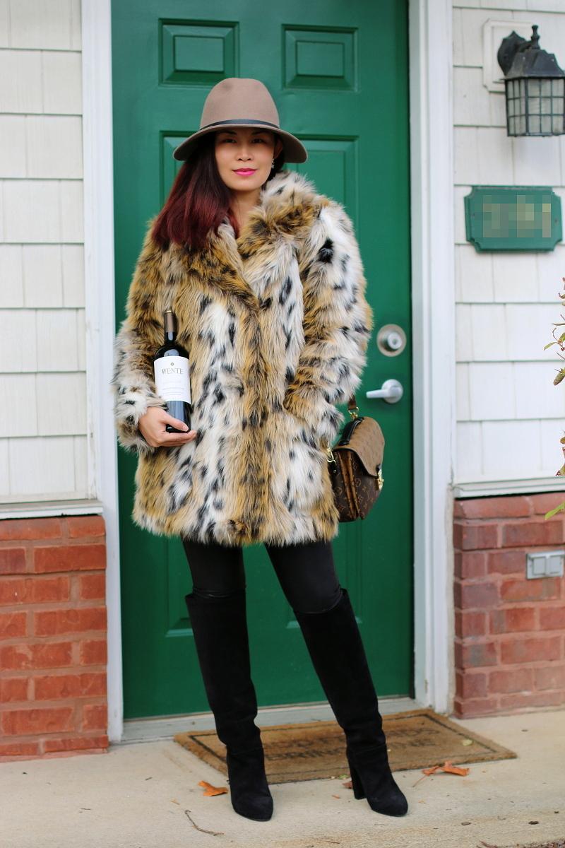 faux-leopard-coat-tall-boots-wente-vineyards-wine