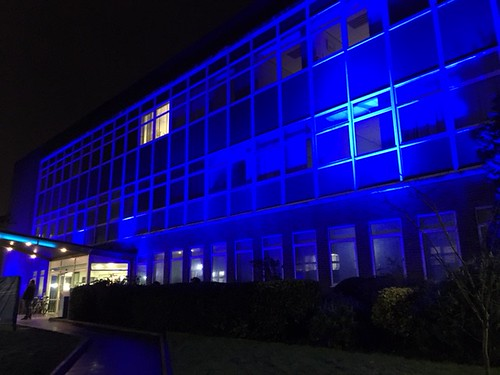 DRU Cymru building lit blue for World Diabetes Day