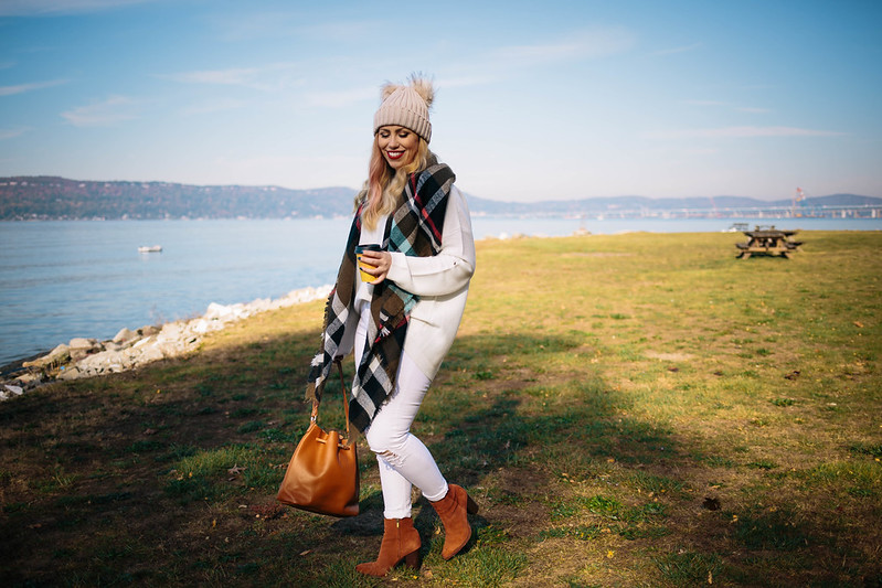 Fall Foliage Winter White Outfit Plaid Scarf Pom Pom Beanie White Jeans Sam Edelman Cinnamon Booties