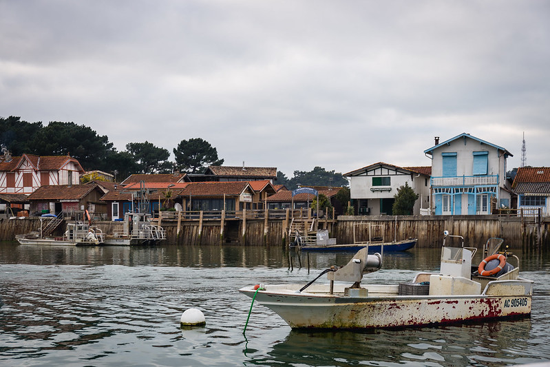 En bateau sur le bassin d'Arcachon - Vue sur les villas et villages du Cap Ferret - hiver 2016