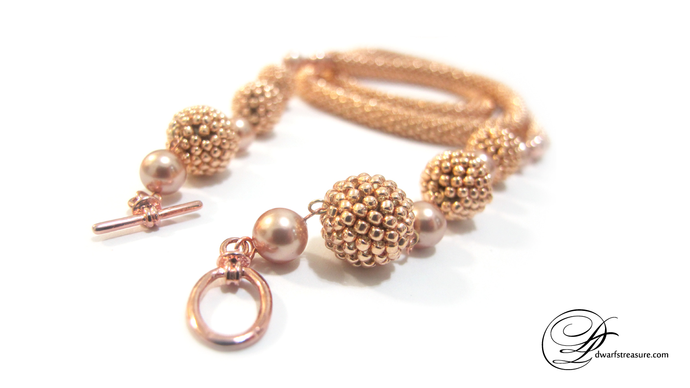 Ornate custom made rose gold beaded crochet long necklace