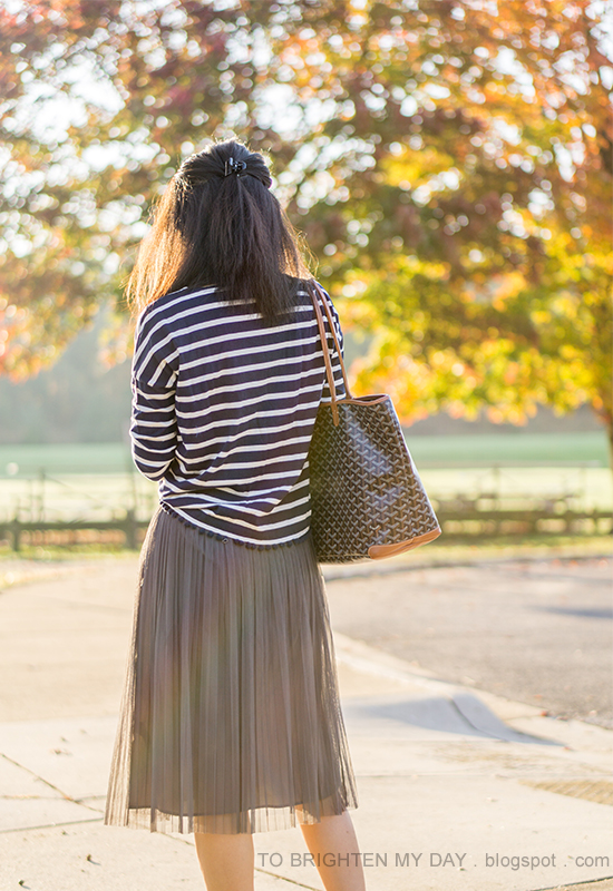 navy and white striped top, gray midi tulle skirt, monogrammed tote