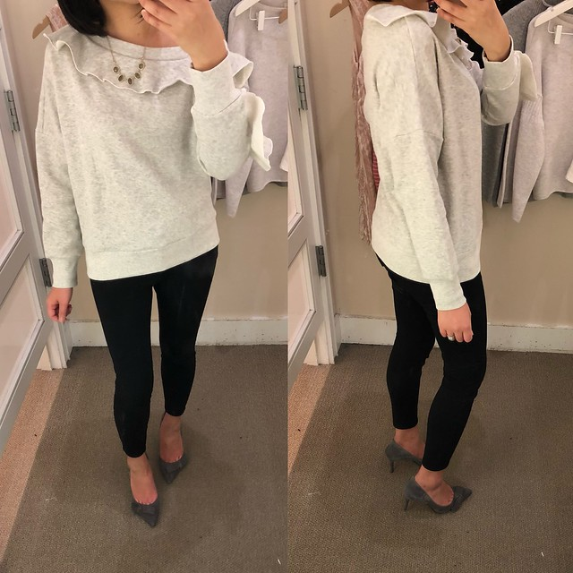 Lou & Grey Ruffle Off The Shoulder Sweatshirt, size XS regular