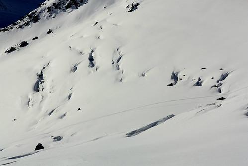 Glacier de Chavière avec ses crevasses