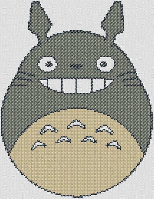 Preview of My Neighbor Totoro: free anime cross stitch to print