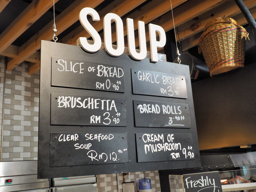 Soup and bread at Marché Mövenpick Pavilion