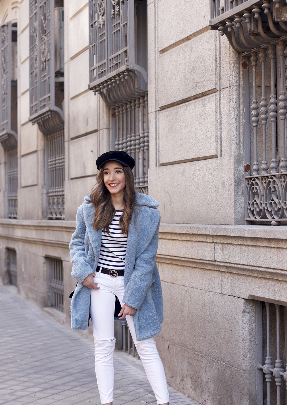 blue fur coat stripes white ripped jeans givenchy bag navy cap fall outfit street style10