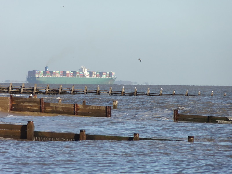 Container ship departing Felixstowe