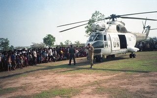 Everyone, including some people who had never seen a Westerner before, was curious to see the UN team as it arrived in Preah Vihear.