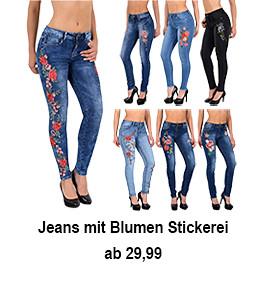 Damen Jeans Skinny mit Blumen Stickerei Blumenstickerei bis Übergröße J302