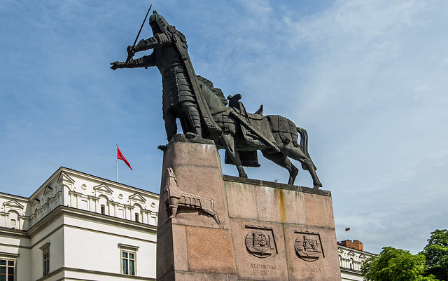 Monument to Grand Duke Gediminas in Cathedral Square - Vilnius, Lithuania