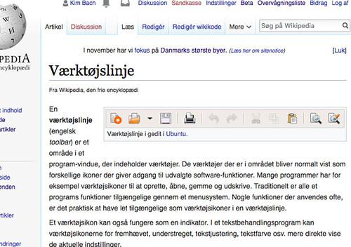 Dansk Wikipedia - Værktøjslinje