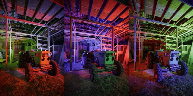 Barn Tractor Triptych