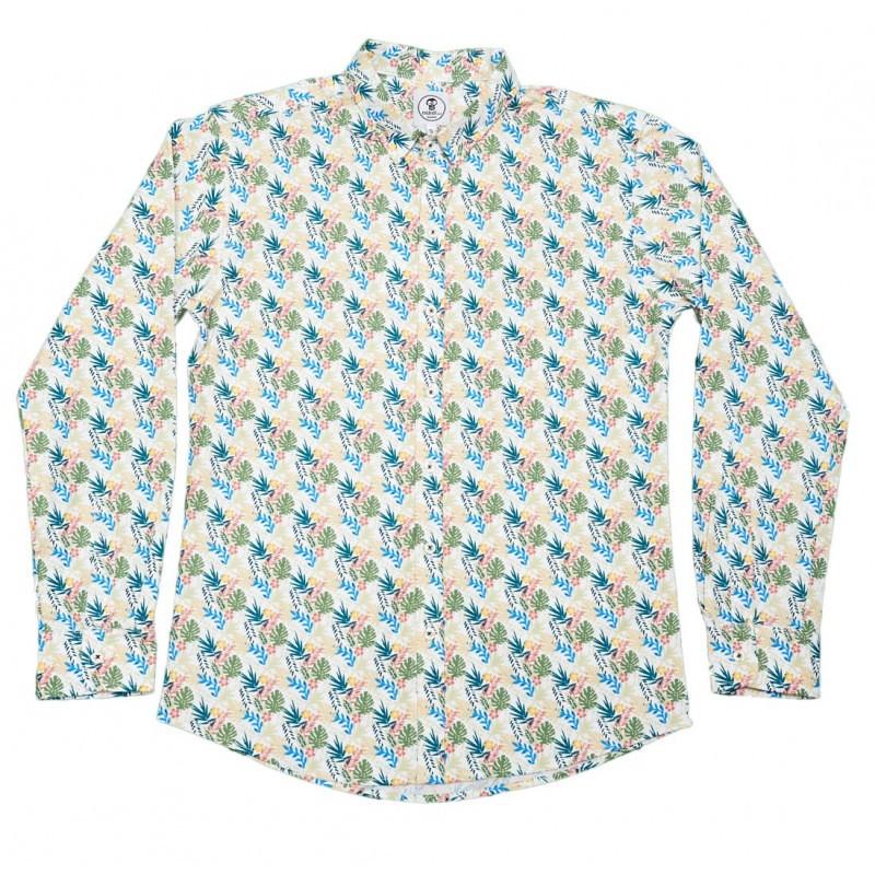 camisa-flores-azul-rosa-hojas-verdes