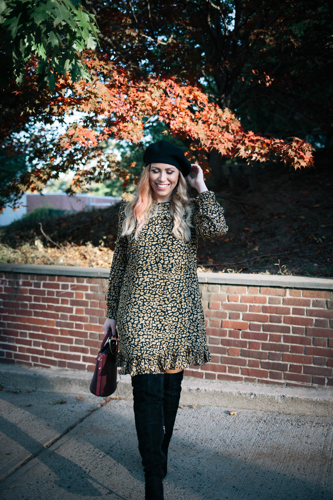 Fall Leaves Yellow Leopard Dress Black Beret Black OTK Suede Boots