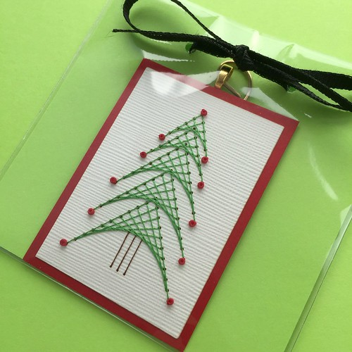 Stitched Tree Ornament by Stefani Tadio Paper Art