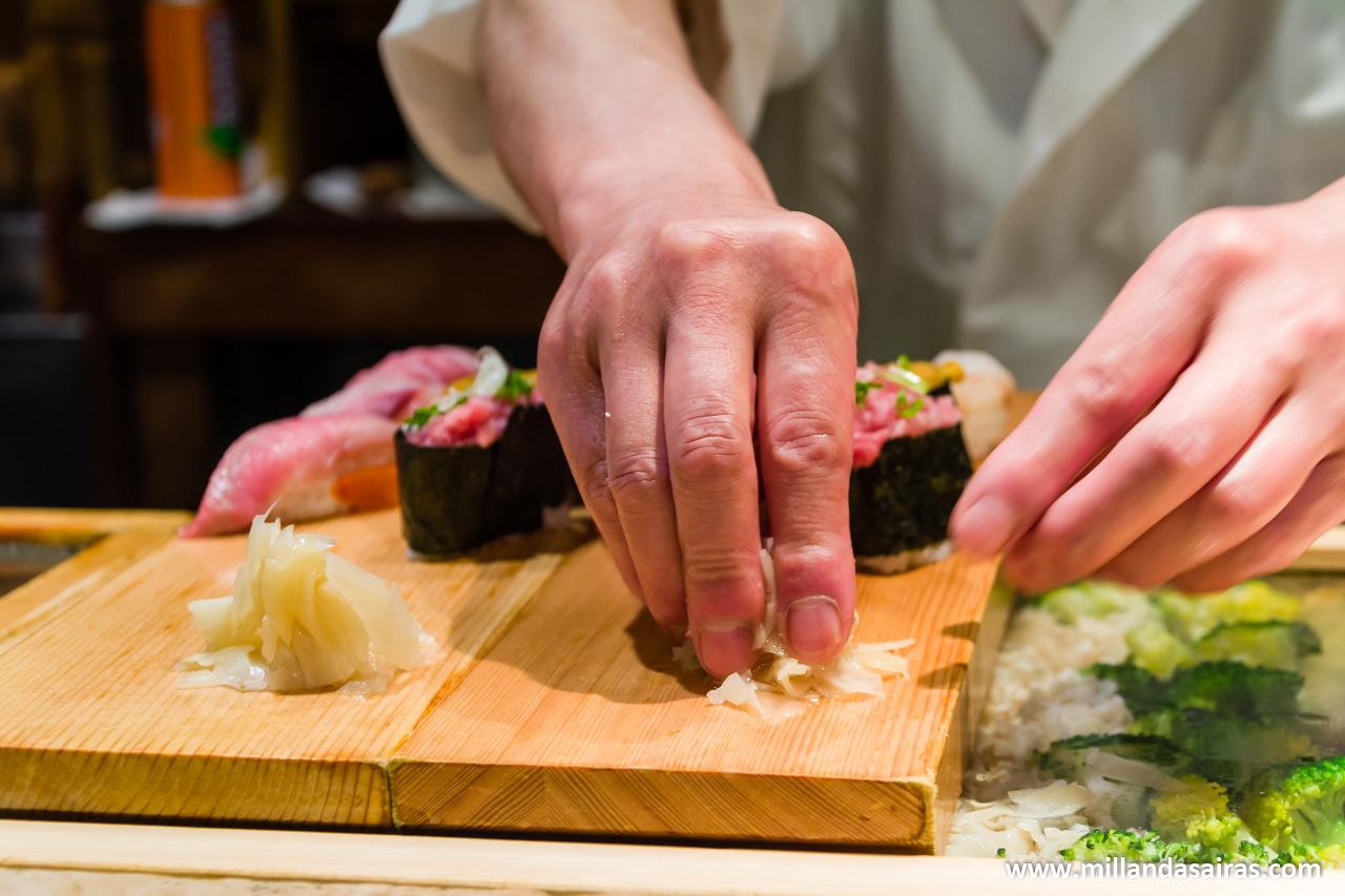 Sushi en el Tsukiji Market, en Tokyo