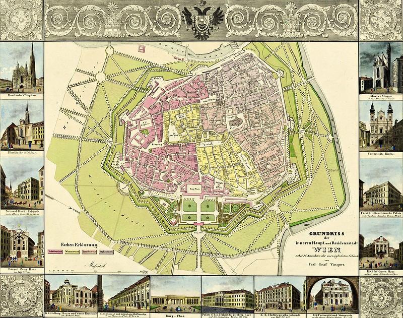 Carl Vasquez Pinos - Karte von Wien, Innere Stadt, (c.1830)