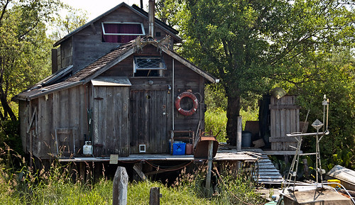 An old wooden house on Finn Slough in Steveston, Canada
