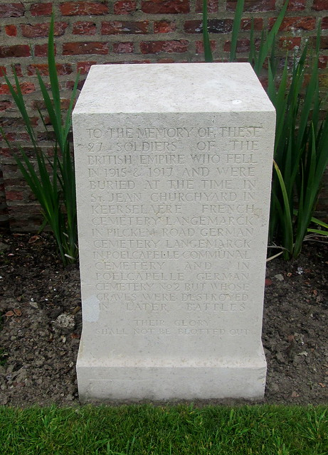 Memorial Stone, Poelcapelle War Cemetery