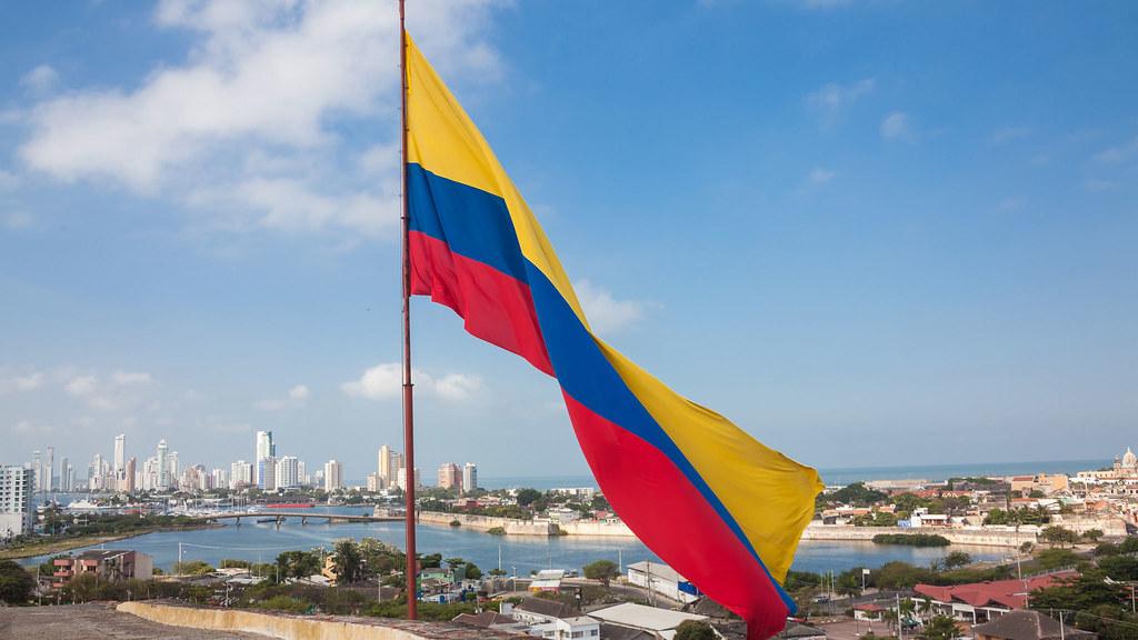 Columbian flag flying over San Felipe Castle
