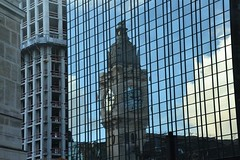 Reflection from the clock tower