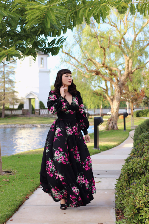 Trashy Diva Bianca Long Dress in Magenta Floral Southern California Belle