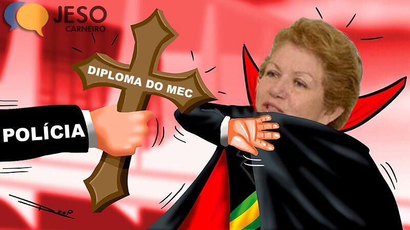 Humor. Como desvampirizar a Semed em Santarém, Montagem. Diploma falso na Semed